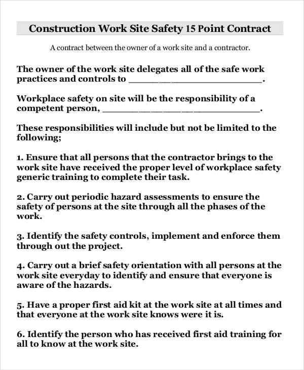 6 safety contract samples templates pdf doc