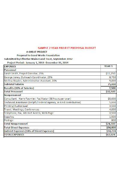 year project proposal in excel