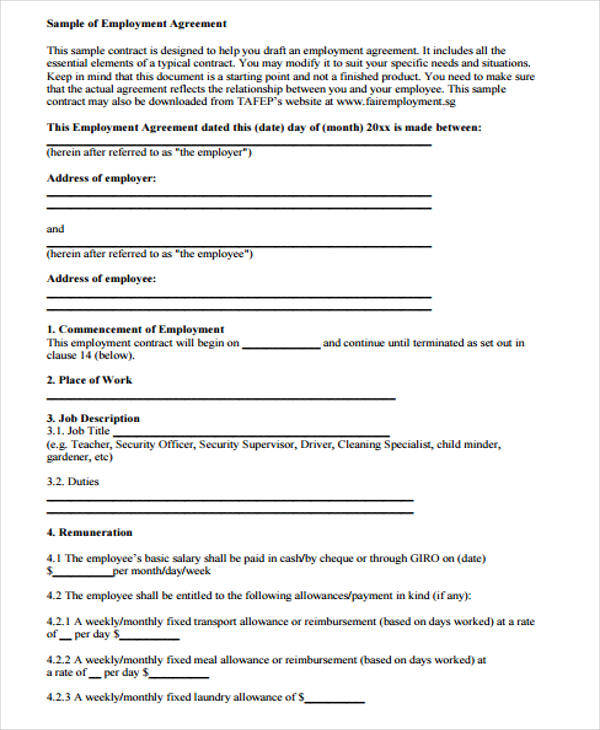 Yearly Contract Templates Examples In Word Pdf