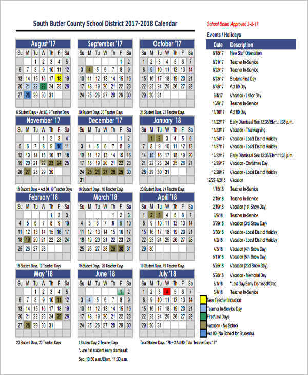 9 event calendar samples templates sample templates for Annual calendar of events template