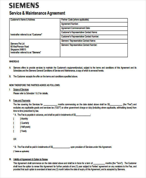 Yearly Contract Templates  Free Sample Example Format Download