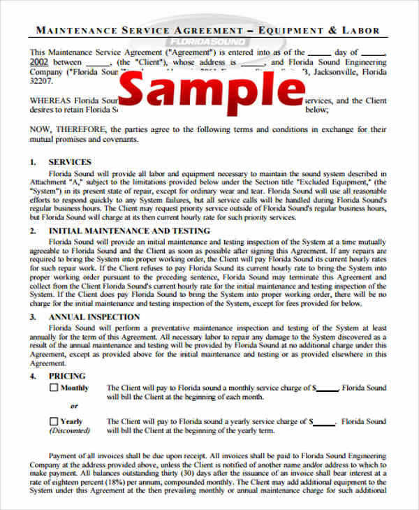 Yearly Contract Samples  Templates In Pdf