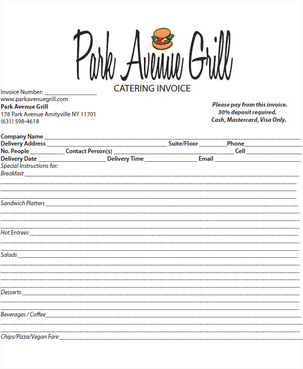 Catering Invoice Template 41