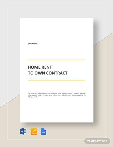 home rent to own contract