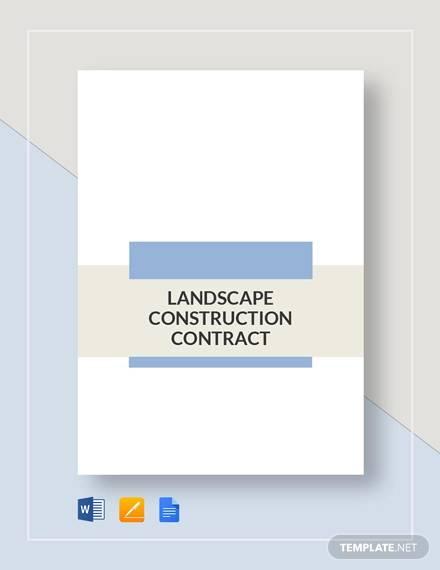 landscape construction contract