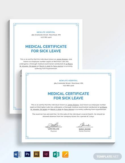 Sample Medical Certificate for Sick Leave - 7+ Examples in Word, PDF