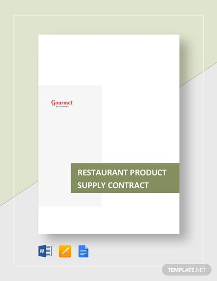 restaurant product supply contract