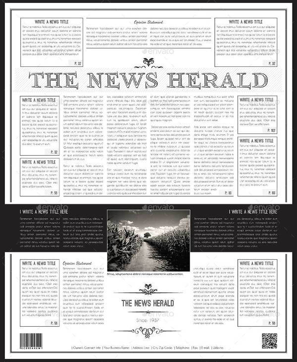 FREE 53+ Amazing Newspaper Templates in PDF | PPT | Word | PSD