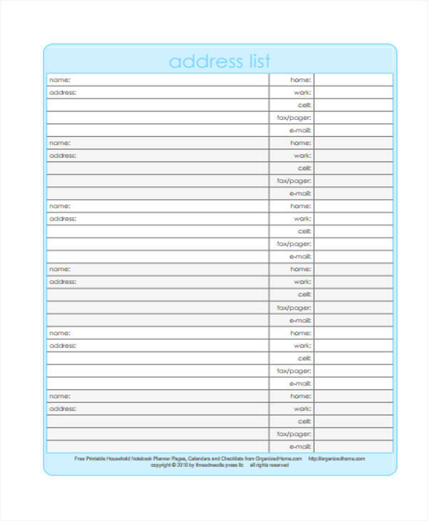 address list