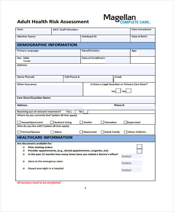 adult health risk assessment form