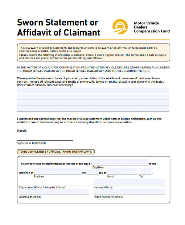 affidavit of sworn statement template