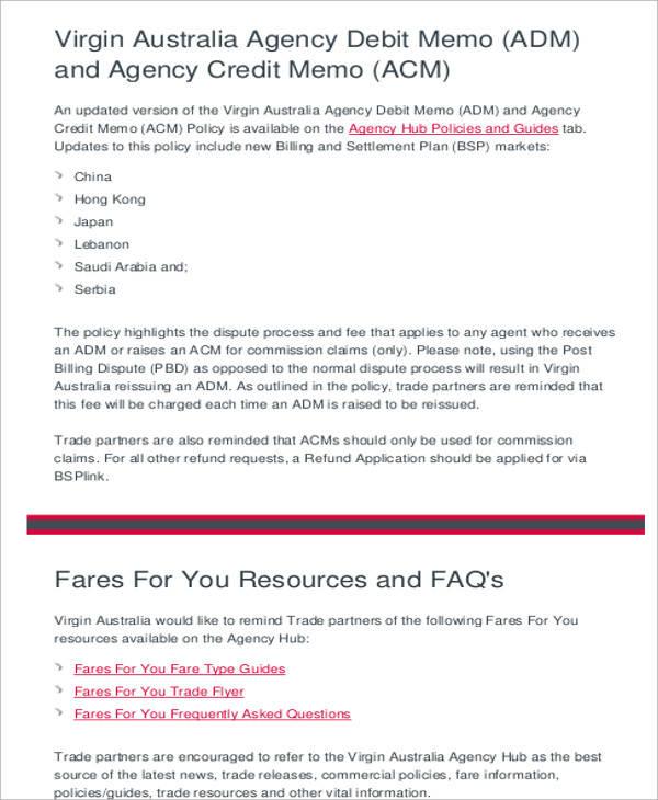 agency credit memo