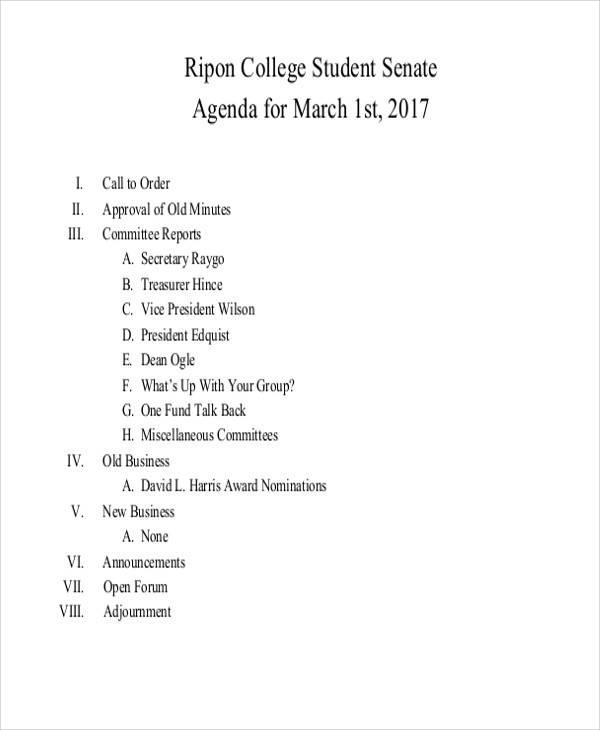 agenda for college student