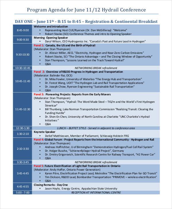 agenda for conference program