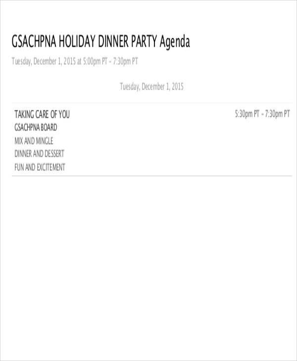 agenda for dinner party