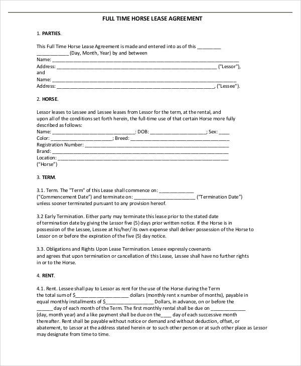 agreement for full time horse lease