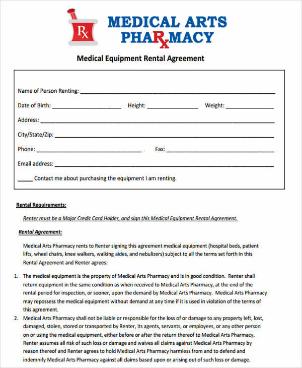 agreement for medical equipment lease