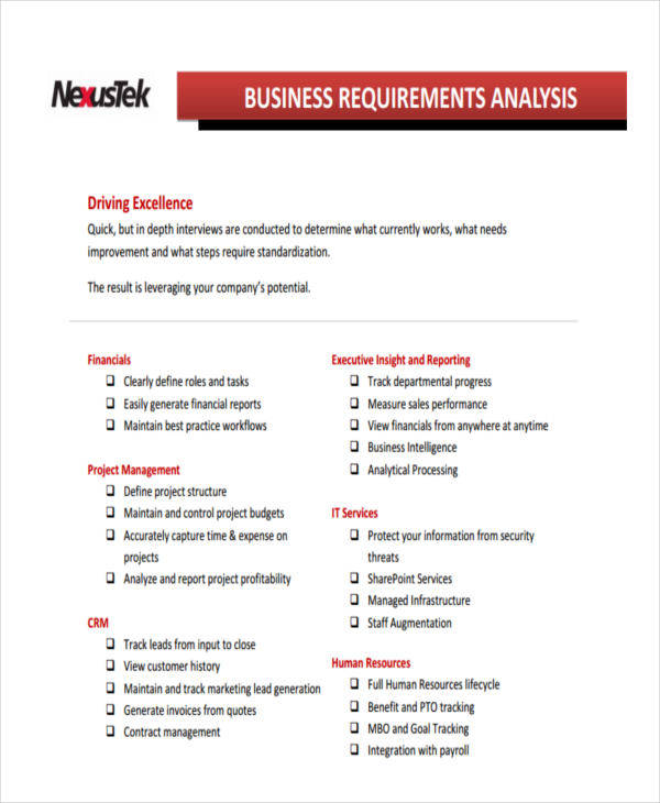 analysis for business requirement