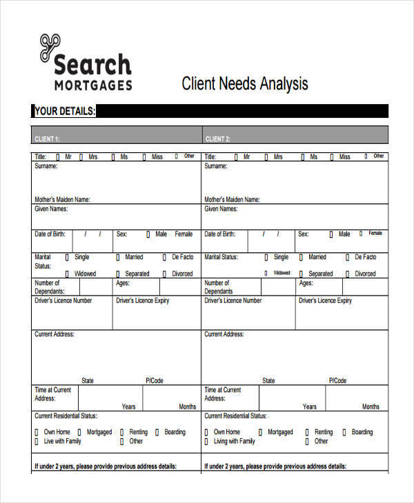 6 needs analysis templates examples in word pdf for Client analysis template