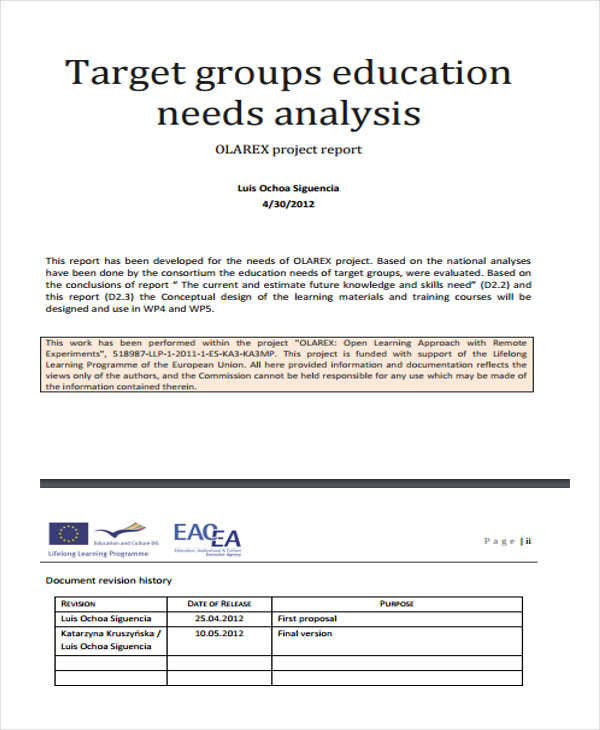 analysis for educational needs