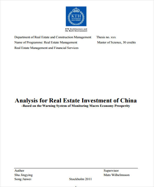 analysis for real estate investment