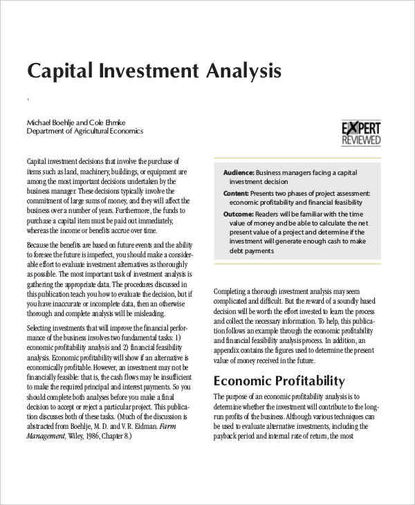 Investment Analysis Templates  Free Sample Example Format Download