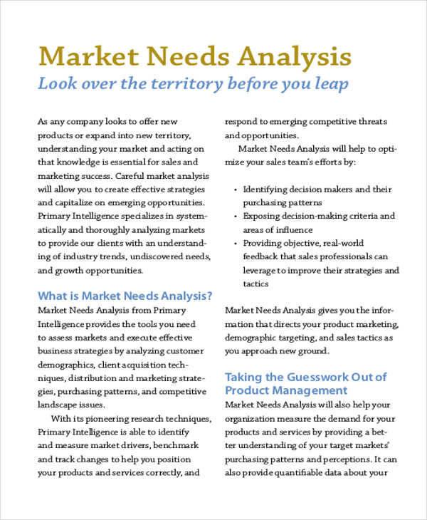 analysis of market needs