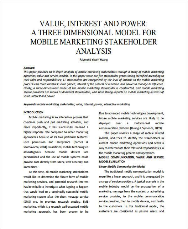 analysis of marketing stakeholder1