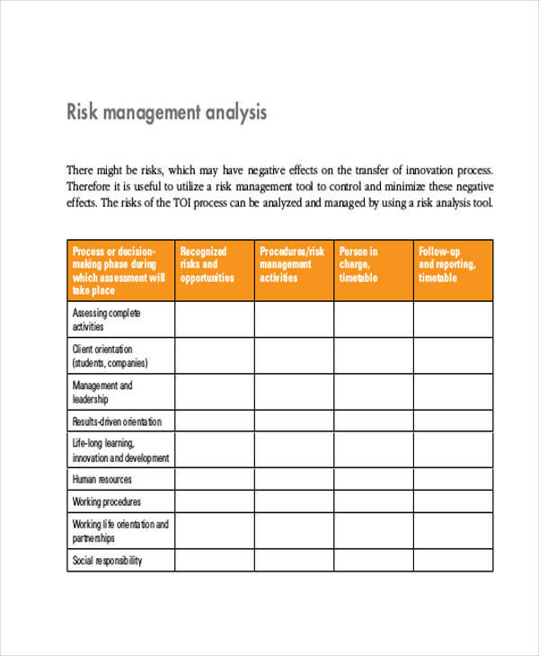 Management Analysis  Free Sample Example Format Download