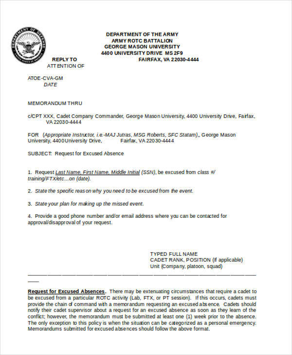 army formal memo template