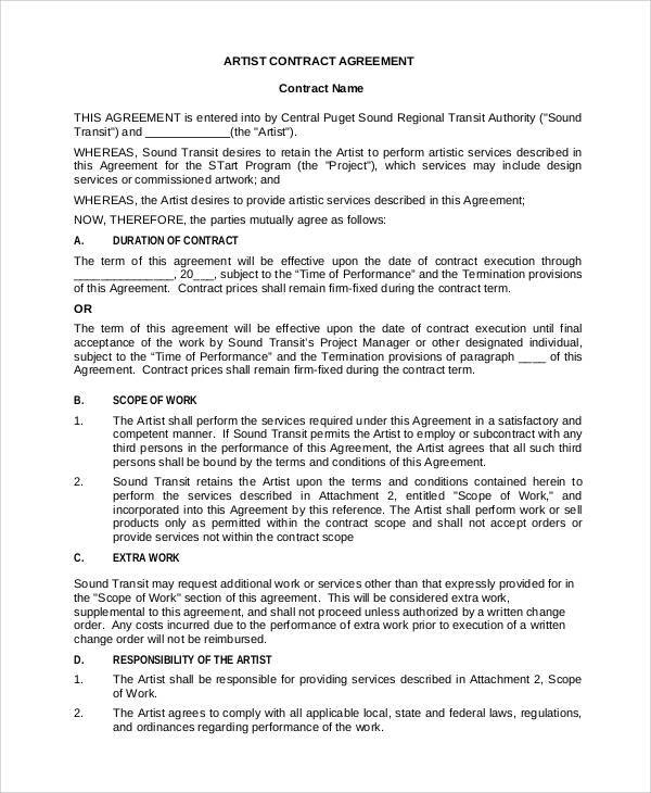 Artist Agreement Contract Makeup Artist Service Contract Template