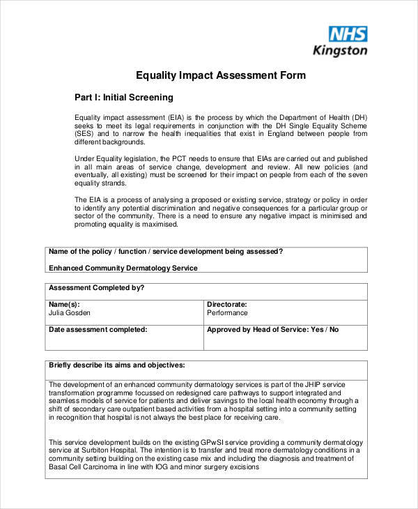 assessment for equality impact