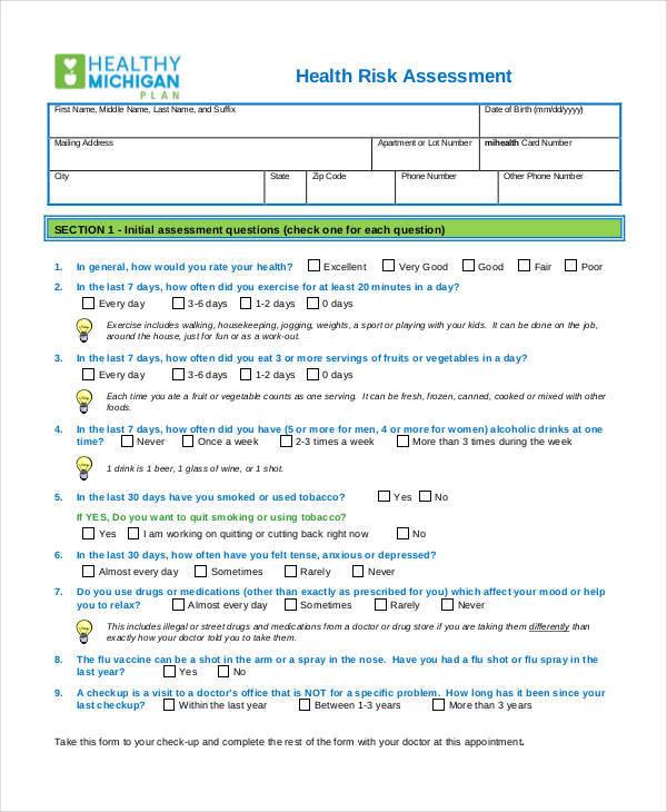 assessment for health risk