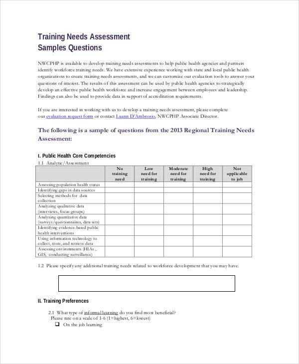 assessment for training needs