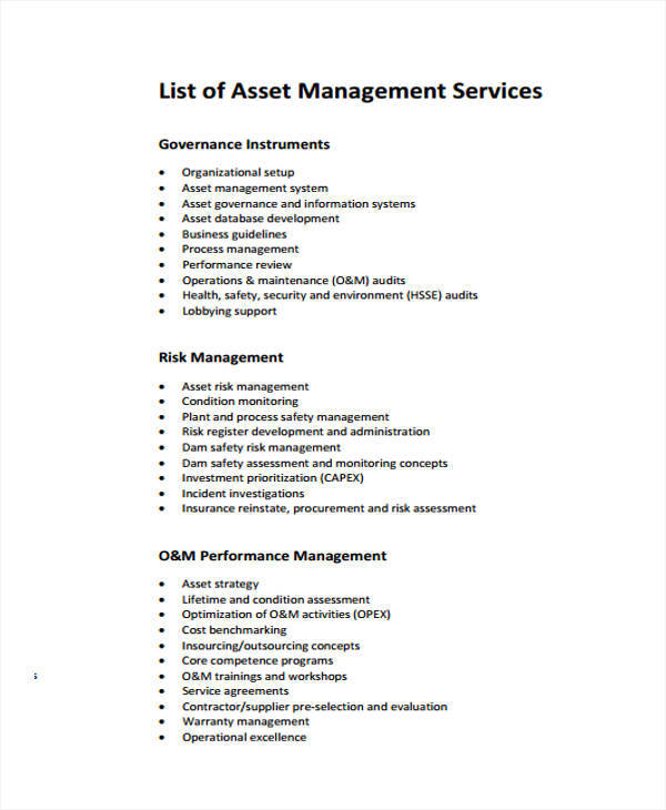 Management List Sample   Examples In Word Pdf