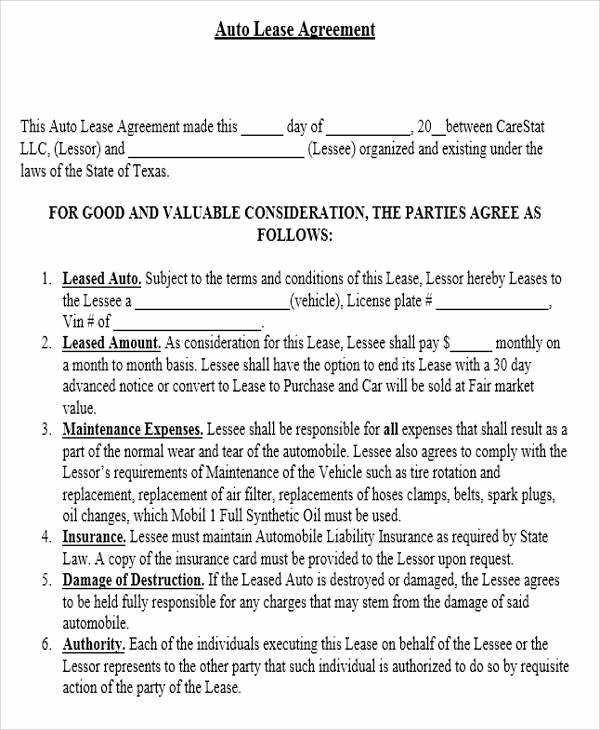 Lease Agreement Forms Sample Templates - Agreement form template