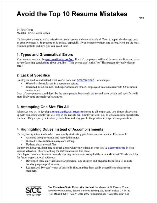 Exceptional Top Resume Mistakes