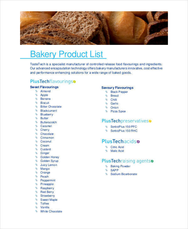 Product List Samples List Of Product Sample Business Plan