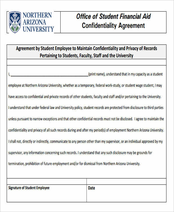 Financial Confidentiality Agreements  Free Sample Example