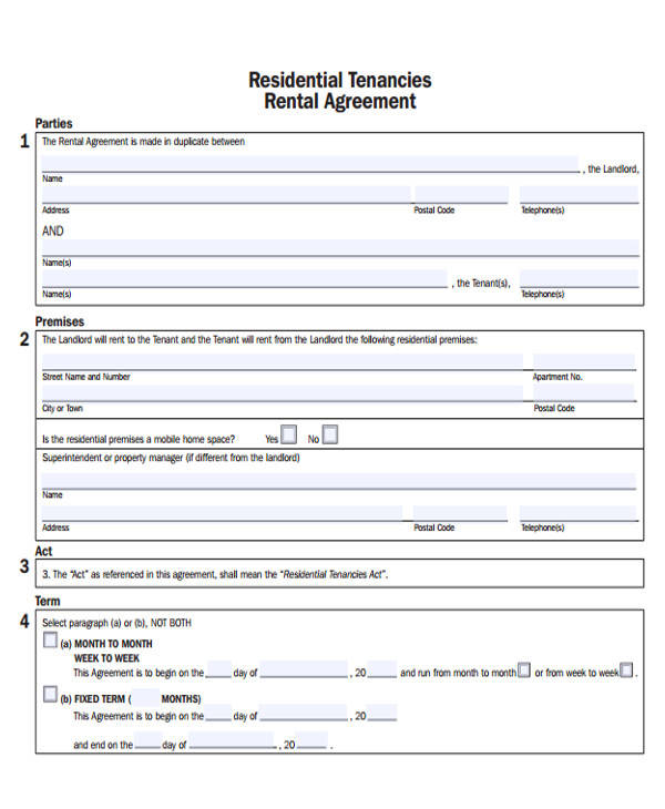 basic rental lease sample