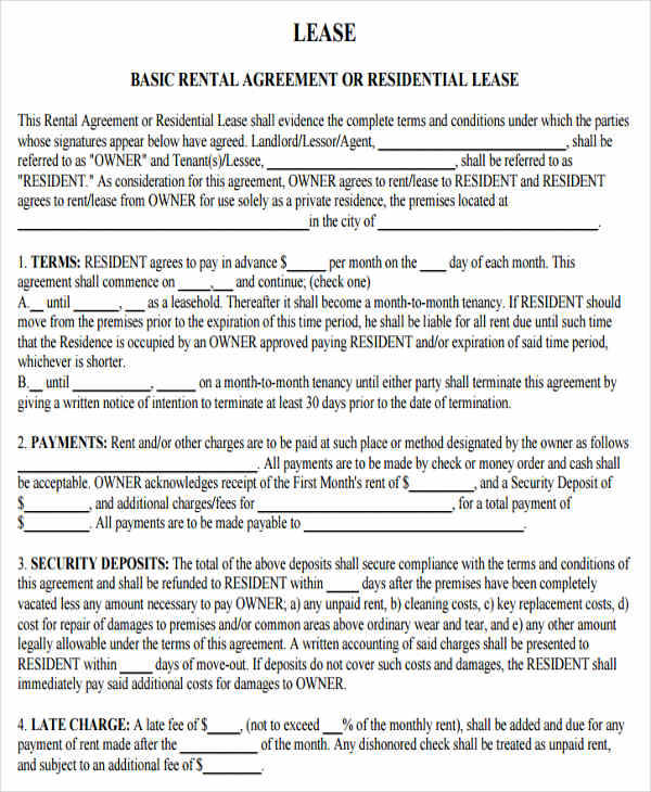 48 Lease Agreement Formats Templates Word Pdf Pages