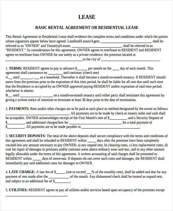 32 Lease Agreement Forms In PDF