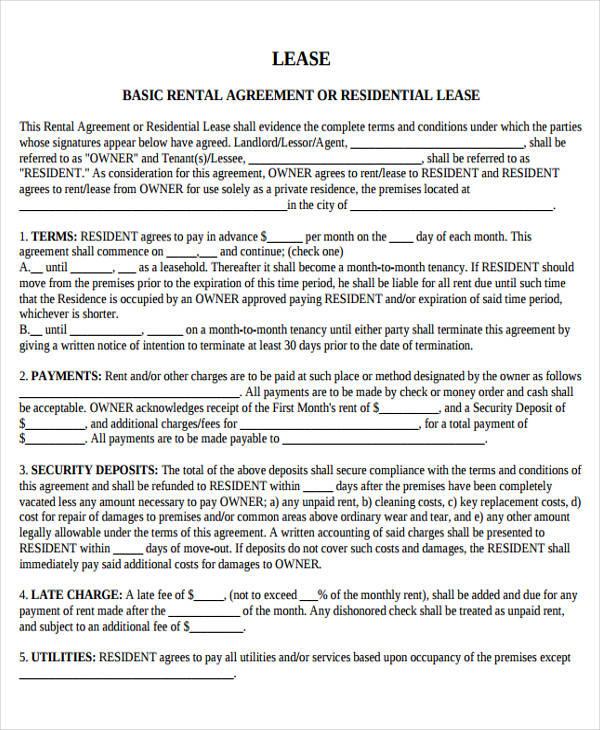 Basic Lease Basic Rental Agreement Template Best Resume