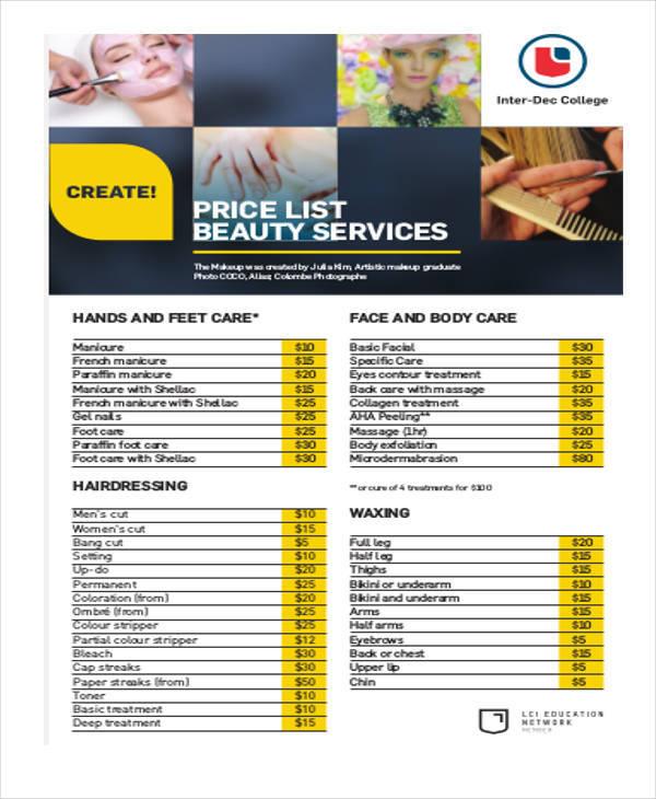 beauty price list example