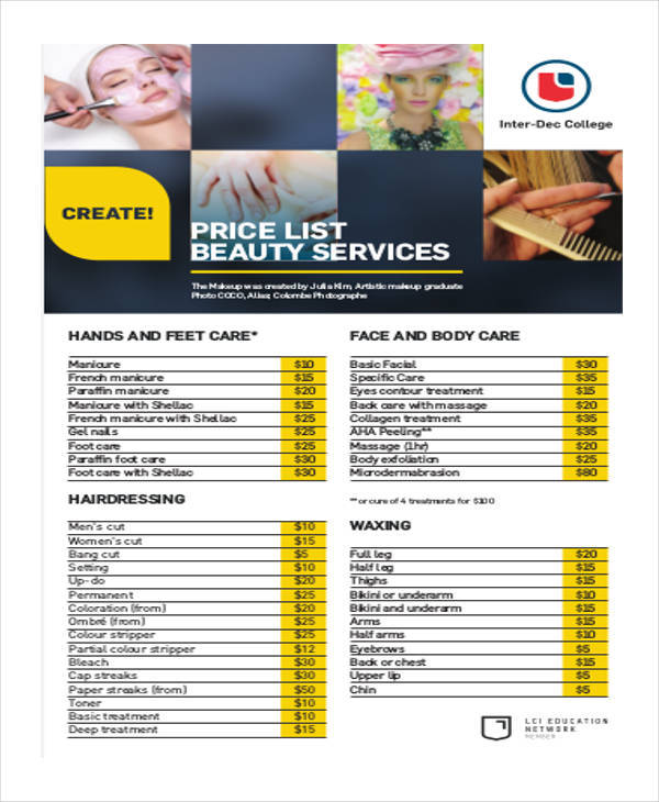 beauty price list