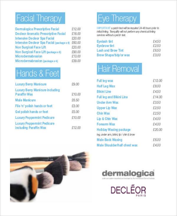 beauty salon price list
