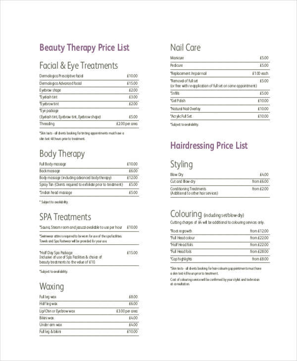 beauty therapy price list