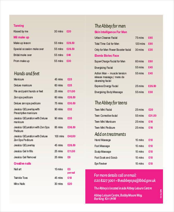 beauty treatment price list