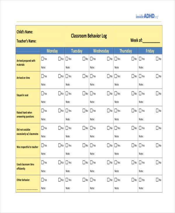 behavior log for classroom