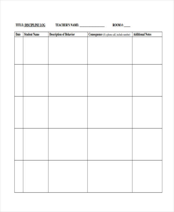 Behavior Log Examples  Free Sample Example Format Download